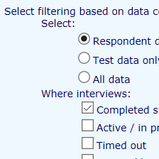 <p><strong>Filtrowanie wyników na etapie eksportu</strong></p>Ograniczenie zbioru danych podczas pobierania danych z badania do wybranych zmiennych i obserwacji