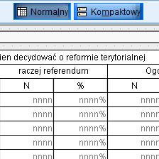 <p><strong>Raporty tabelaryczne</strong></p>Tworzenie raportów tabelarycznych z pełną kontrolą nad: sposobem wyświetlania zawartości komórki, zawartością wymiarów tabeli, strukturą i opisem tabeli